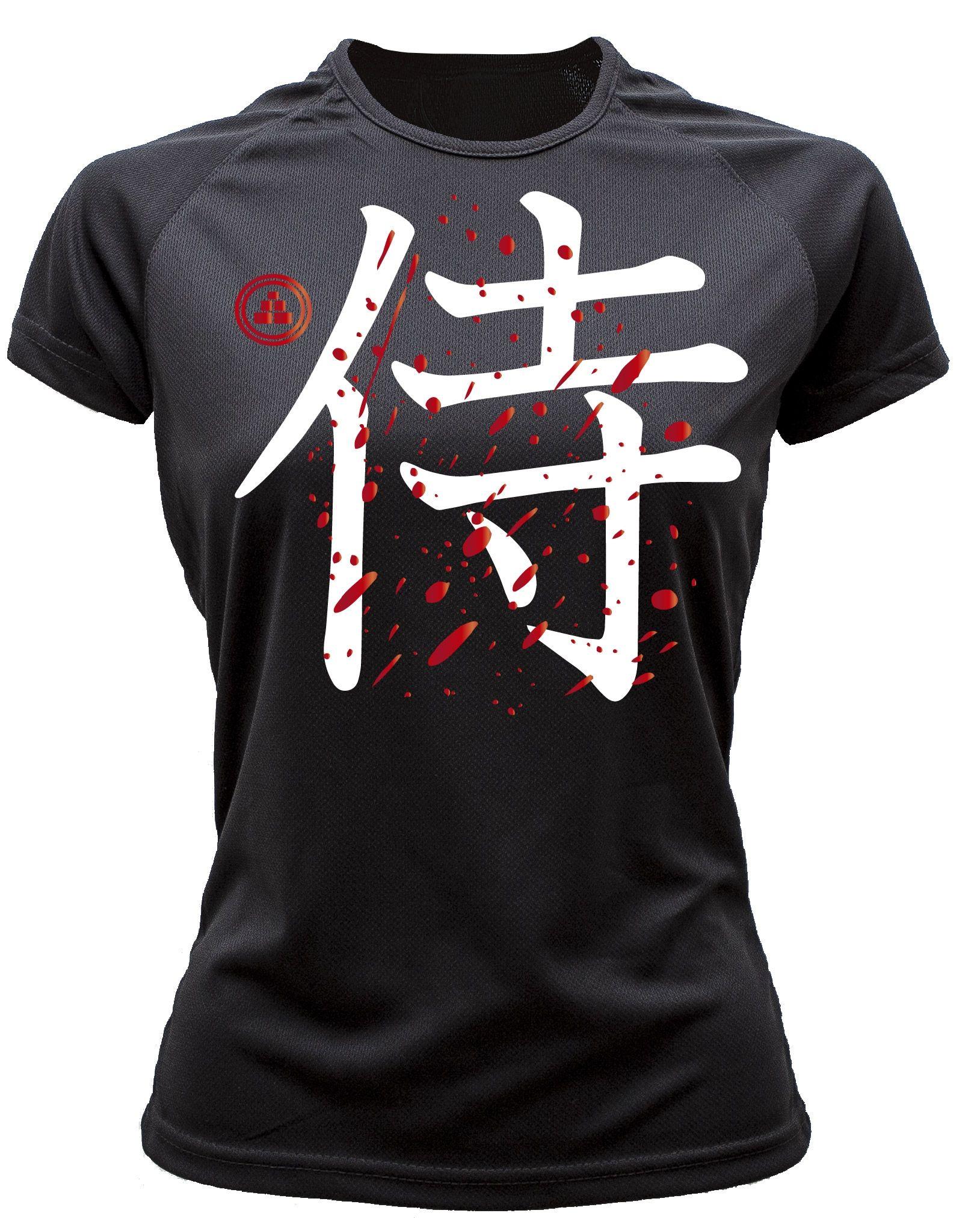 Camiseta running samurai color negro