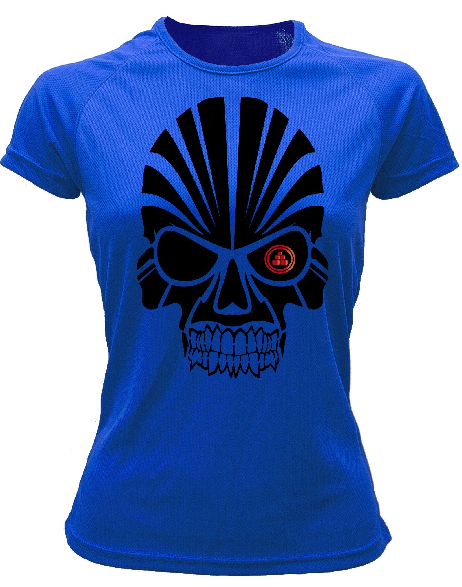 Camiseta deportiva Mujer calavera Azul Royal