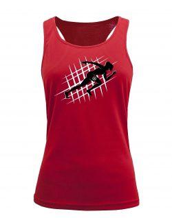 Camiseta fitness de tirantes running Roja