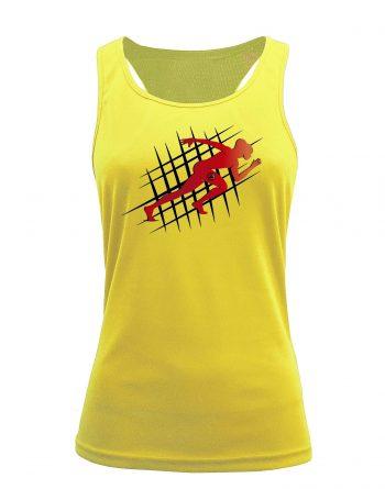 Camiseta fitness de tirantes running amarilla
