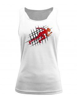 Camiseta fitness de tirantes running blanca
