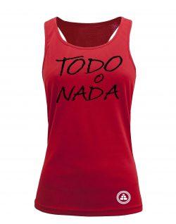 Camiseta fitness de tirantes TODO O NADA color Rojo
