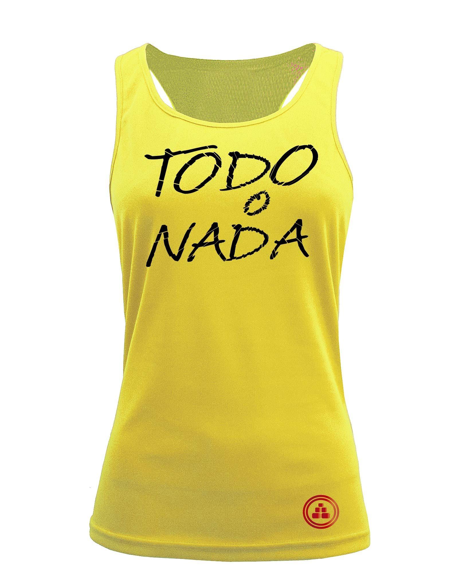 Camiseta fitness de tirantes TODO O NADA color amarillo