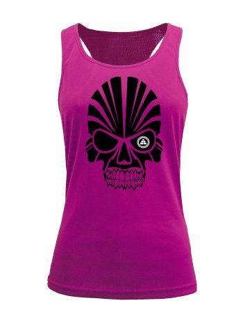 Camiseta fitness de tirantes calavera Rosa