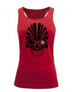 Camiseta fitness de tirantes calavera Roja