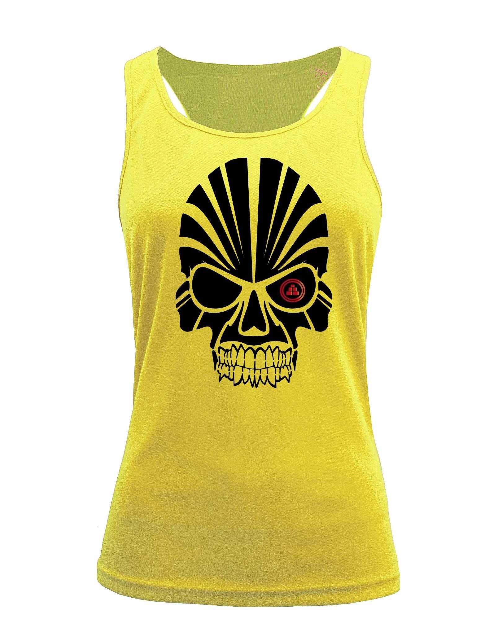 Camiseta fitness de tirantes calavera amarilla