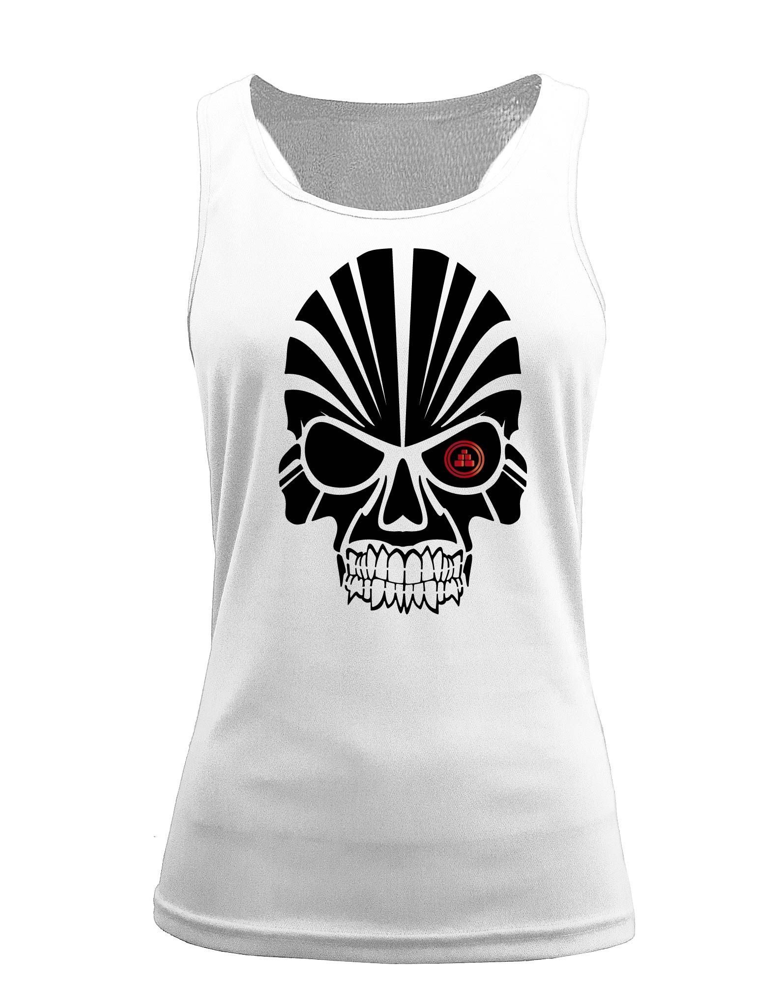 Camiseta fitness de tirantes calavera blanca