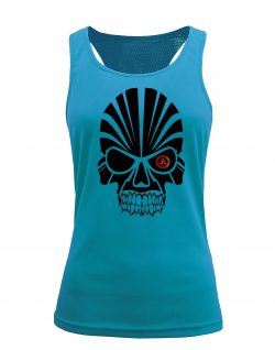 Camiseta fitness de tirantes calavera aqua