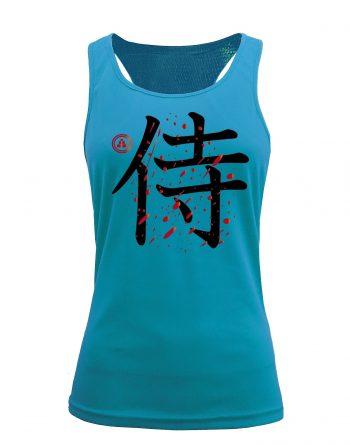 Camiseta fitness de tirantes samurai color Aqua
