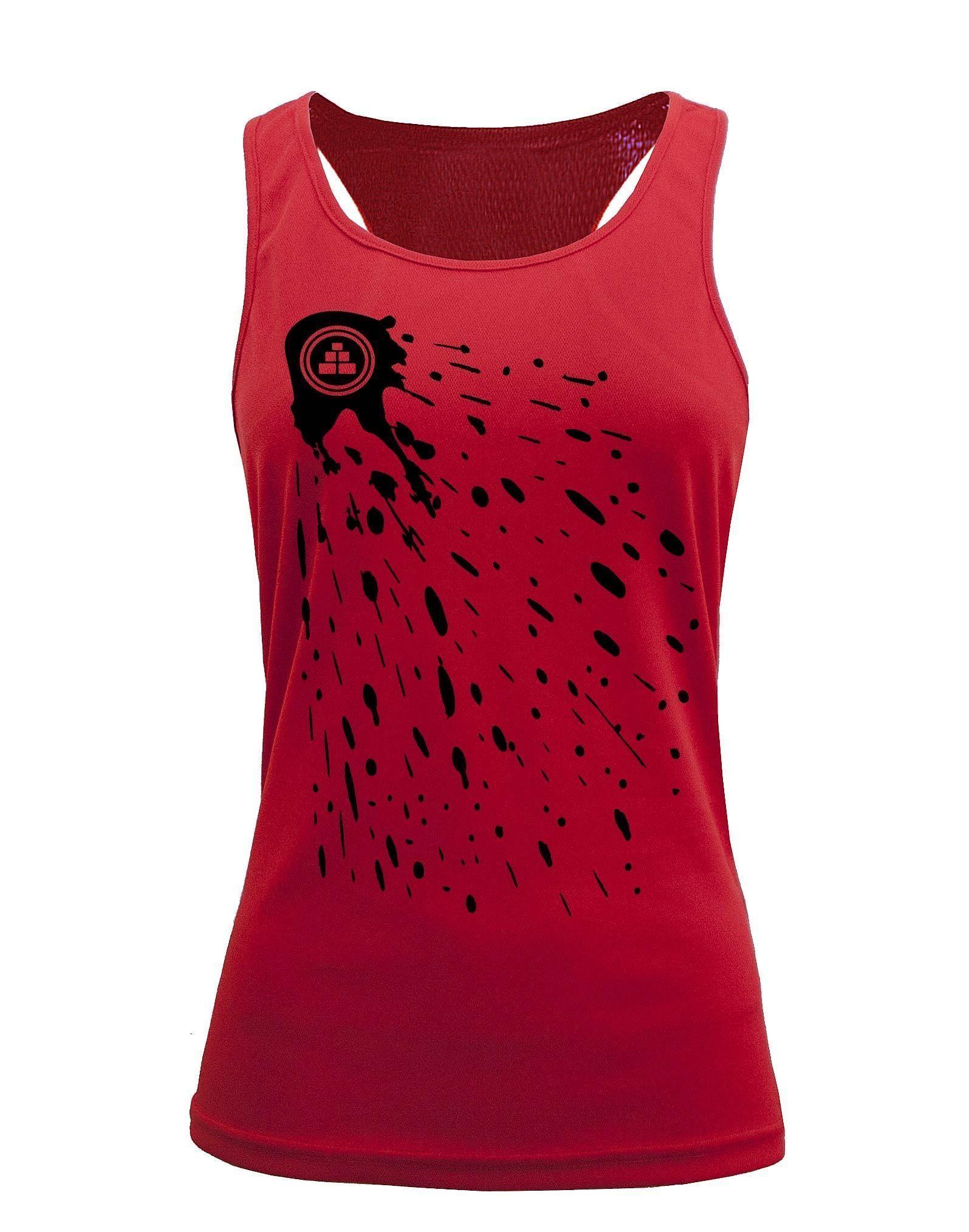 Camiseta fitness de tirantes Pintura Roja