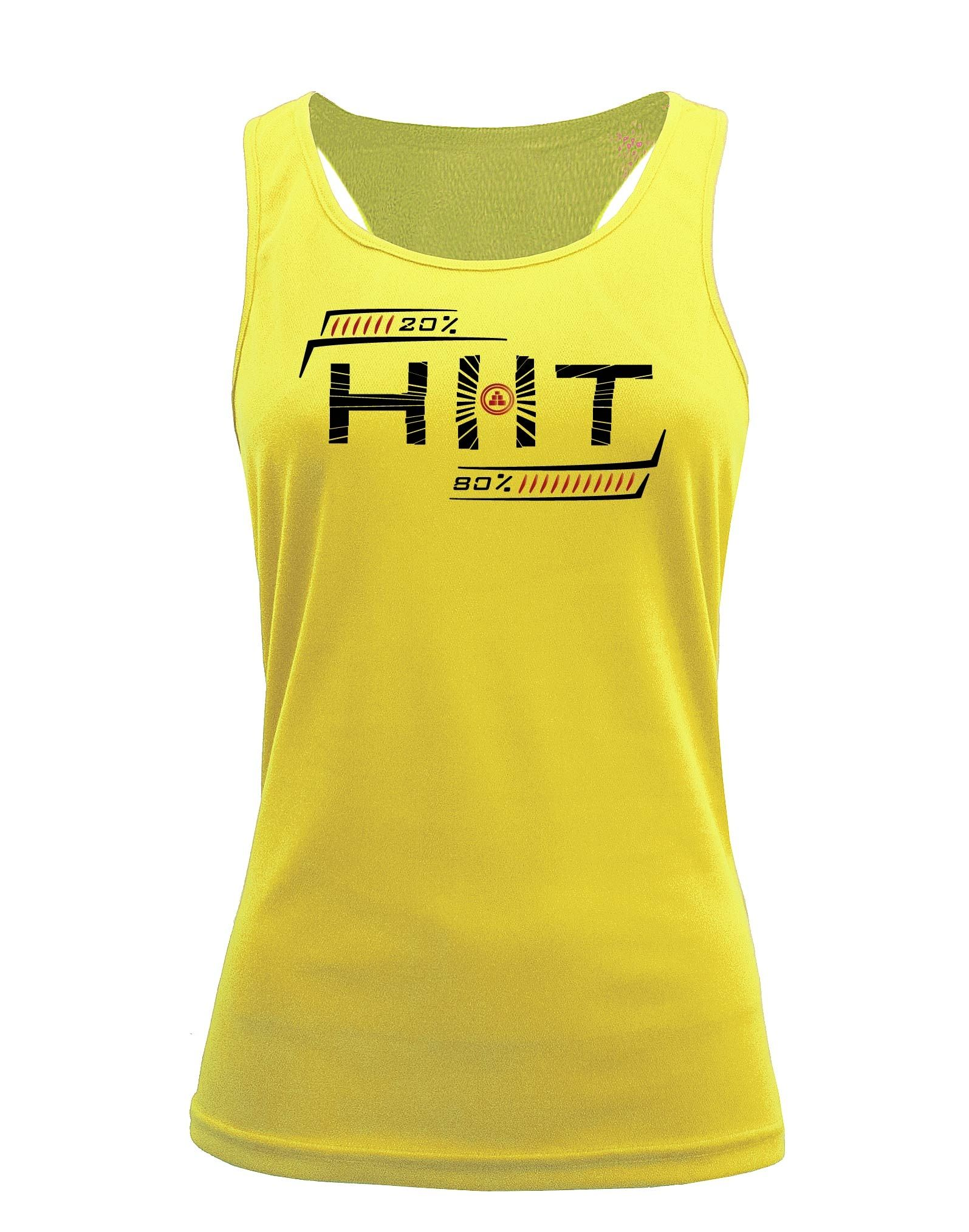 Camiseta fitness de tirantes Entrenamiento HIIT amarilla