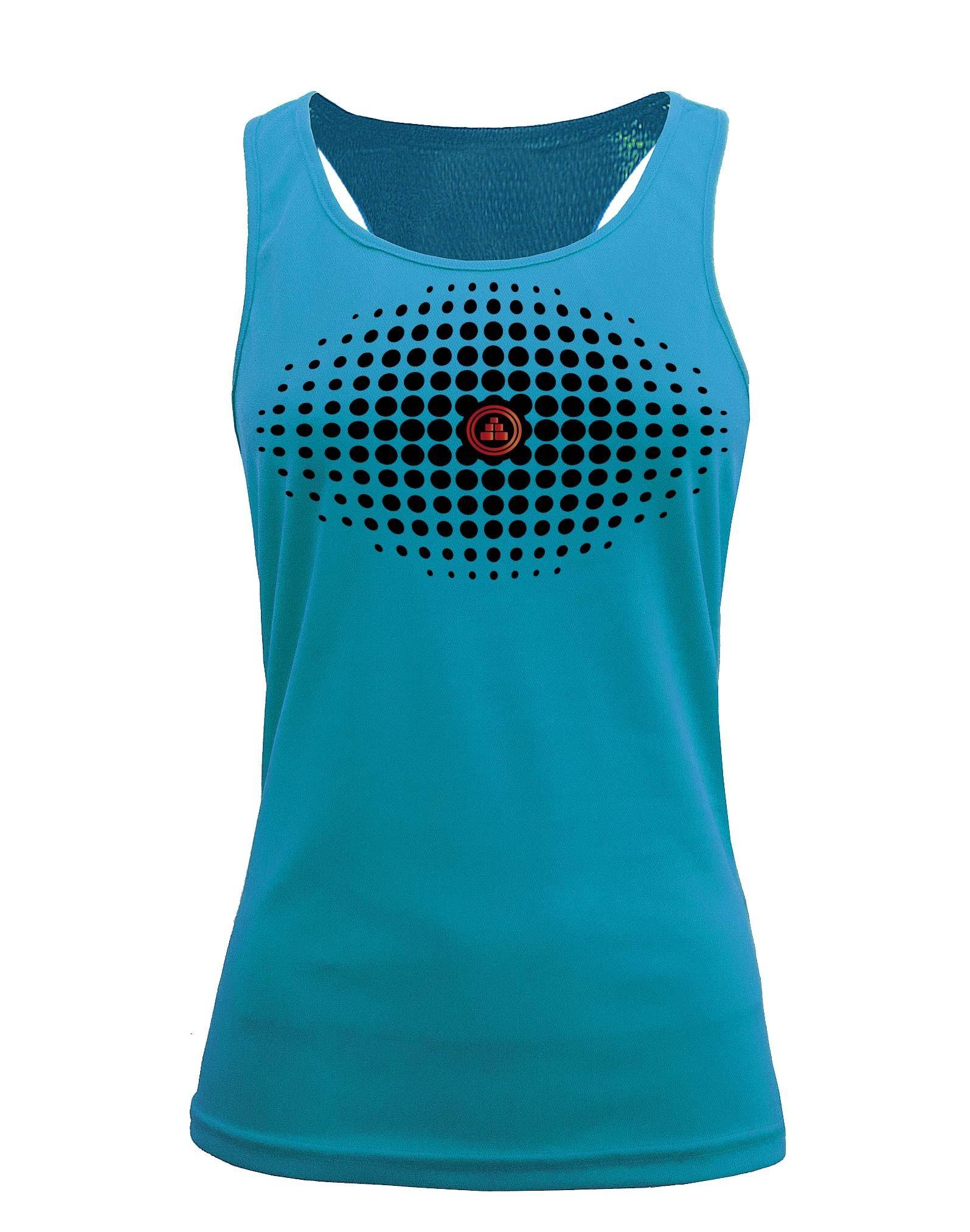 Camiseta fitness de tirantes degradado Aqua