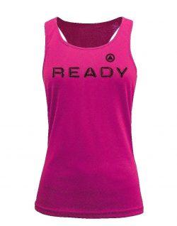 Camiseta fitness de tirantes ready rosa
