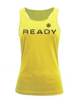 Camiseta fitness de tirantes ready amarilla
