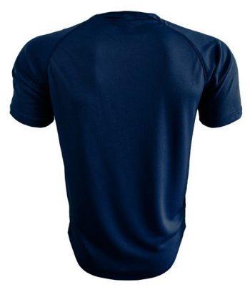 Camiseta deportiva azul marino detrás es
